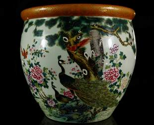 An Unique Famille-rose ' Flower and Bird Poem'  Pot