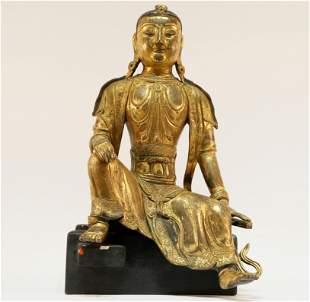 Rare Gilt bronze Guanyin statue