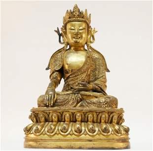Splendid Gilt bronze Tibetan statue