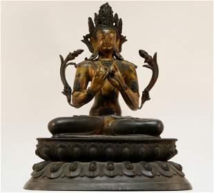 Superb Gold painted bronze Tara statue