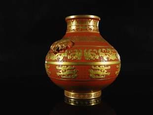 A Fine Red-gound Gold-dotted' Flower' Pot