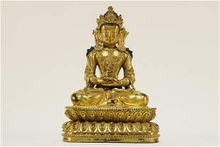 Gilt Bronze Buddha Amitabha Statue