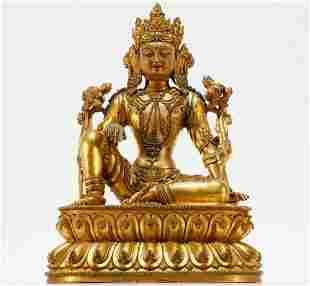 A Rare Tibetan Gilt-Bronze Guanyin