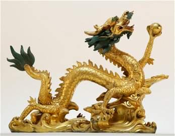 An Exquisite Gilt-Bronze Dragon