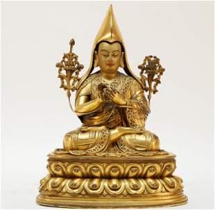 A gilt-bronze Tibetan figure of Tsongkhapa