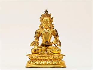 A fine Tibetan gilt bronze  Figure of Amitayus