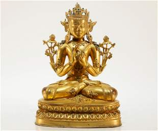 A Gilt Bronze Tibetan Sculpture Buddhist Figure