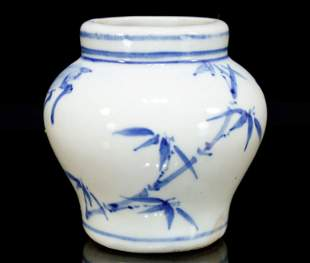 A Delicate Korean Blue-and-white 'Bamboo and Deer' Jar
