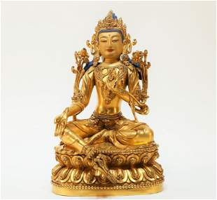 A Gilt Bronze Tibetan Sculpture Figure of Green Tara