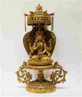 A Gilt Bronze Figure of Guanyin Bodhisattva