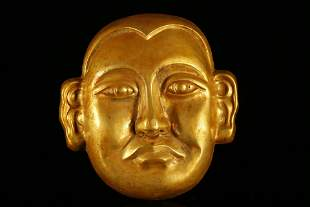 A Rare and Fine Gilt-Bronze 'Character' Mask
