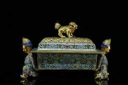An exquisite cloisonne gilt bronze exotic cencer