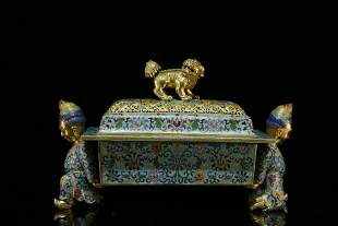 An exquisite cloisonne gilt bronze exotic cencer