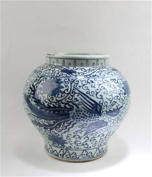 A Blue & White Porcelain Jar