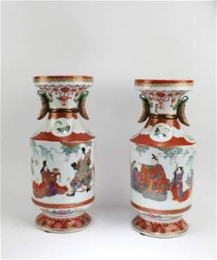 Antique Pair of Porcelain Vases