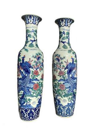 A Large Pair of Chinese Porcelain Vases