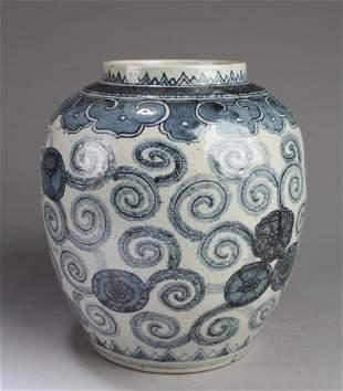 A Korean Blue & White Porcelain Jar