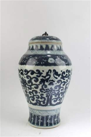 Chinese Blue & White Porcelain Vase with Lid Cover