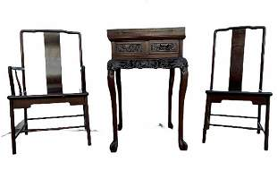 Chinese Hardwood Table with Two Chairs
