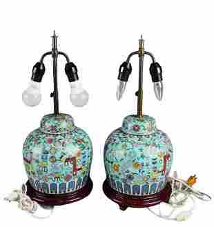 A Pair of Antique Cloisonne Table Lamps, with wooden