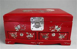A Red Color Lacquer Jewelry Box with Mother-of-Pearl