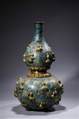 Chinese Enameled Copper Gilt Double Gourd Bandai Vase.