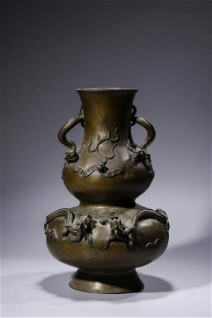 Chinese Bronze Gourd Vase with Clouds and Dragons.