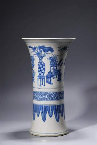A Qing Blue and White Ancient Flower Vase