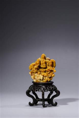 19th C. Carved Soapstone Ornament. Comes fitted with a