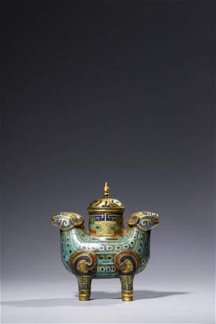 Qianlong period: enamel Double rams incense burner .