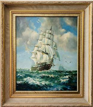 Magnificent oil painting of tall sailboat of early 20th