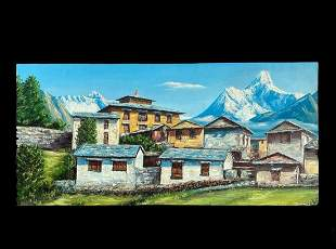 A Modern painting on canvas of Mount Everest, Annapurna