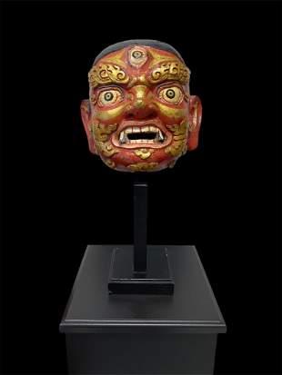 A 18th C Tibetan Mache Mask of Mahakala