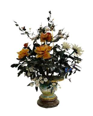 A Cloisonne Flower Pot with flowers made of various