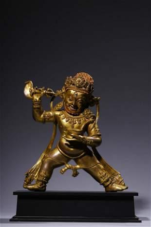 Ming Dynasty: Gilt Bronze Vajra Statue