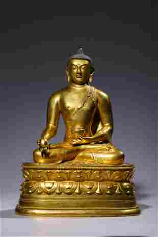 17/18th C. Gilt bronze Mongolian Medicine Buddha