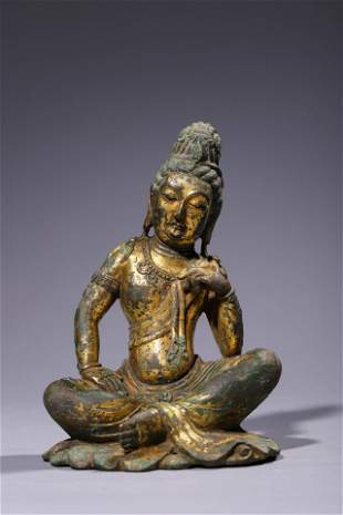 Tang Dynasty: Seated Gilt Bronze Guanyin Statue