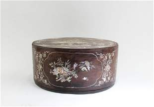 A Carved Wooden Round Box