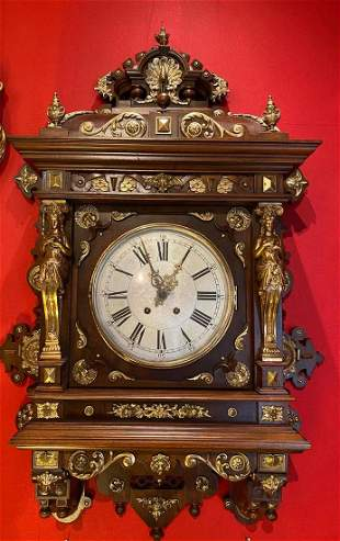 A Gilt Bronze/Wooden Western Styled Hanging Clock,