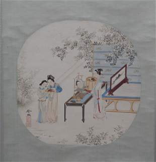 A Chinese Portait of Ladies Painting Scroll