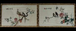 A Pair of Chinese Framed Embroidery Painting