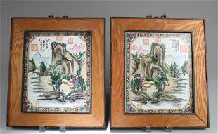A Pair of Chinese Hardwood Framed Porcelain Plaque