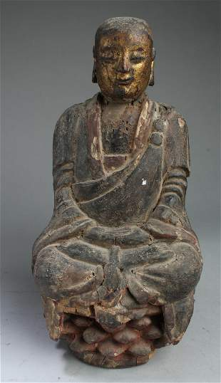 Antique Chinese Wood Carved Bodhisattva Statue