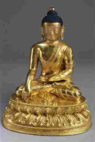 Ming Dynasty Chinese Gilt Bronze Buddha Statue