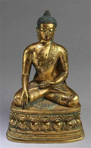 18th Century Gilt Bronze Buddha Statue