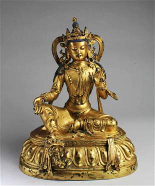 Qing Dynasty Gilt Bronze Bodhisattva Statue