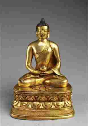 15th C. Chinese Gilt Bronze Seated Buddha Statue