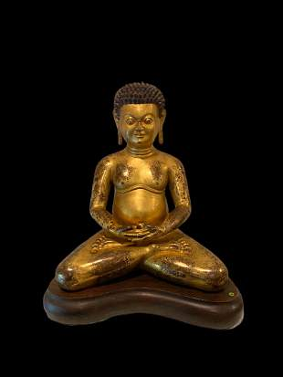 Ming Dynasty Gilt Bronze Seated Buddha Statue