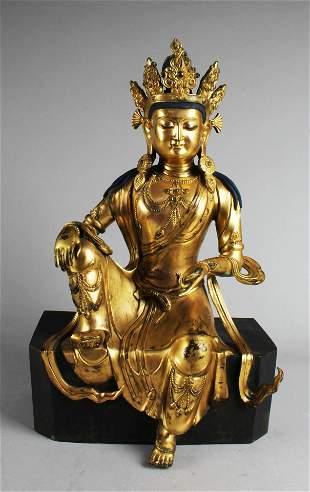 18th Century Gilt Bronze Bodhisattva Statue