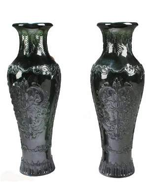 A Pair of Chinese Spinach Jade Vases